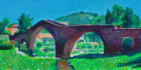 Ponte della Signora, opera di Patrizia Diamante, acrilici su cartolina, piccolo formato, 2019