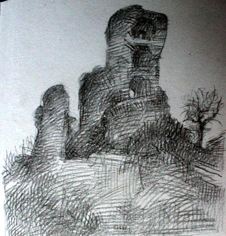 Rocca dei Conti Guidi, piccolo disegno a matita su quaderno d'artista - 2017