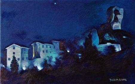 Roccaccia e Case Matte di notte, opera di Patrizia Diamante, olio su tela. 2019