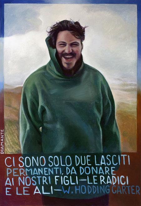 Enrico-Anteo ritratto, opera di Patrizia Diamante, olio su tela 2016