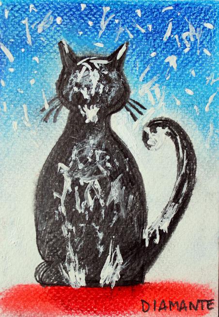 Micio Pollock, tempera libera su cartolina. 2017