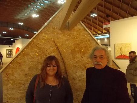 Patrizia Diamante con il Maestro Felice Nittolo ad ArteFiera di Rimini, 2015