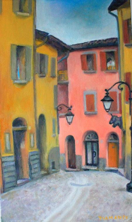 Borgo della Surghina prima del temporale. Piccolo olio su tela, 2015