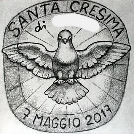 Logo per le bomboniere di un cresimando (copia di un'opera di Gian Lorenzo Bernini nella vetrata dell'abside di San Pietro). 2017