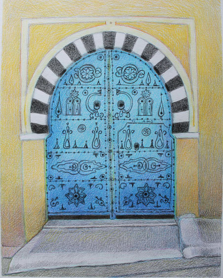 Sidi Bou Said, Tunisia. Pastelli su carta. 1995