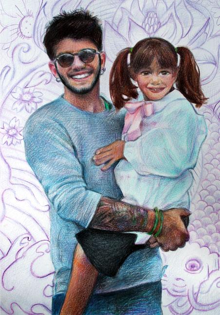 Giovane padre con bambina. Pastelli su cartoncino. 2017