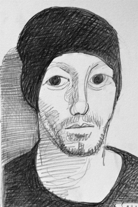 Davide, sketch a grafite. Disegno veloce, una impressione. 2019