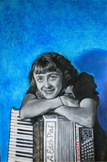 Edith Piaf, olio su tela 1.20 x 80