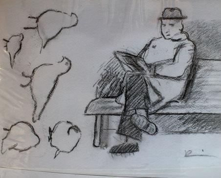 Piazza San Marco, Firenze. Schizzo veloce di uomo che legge e piccioni. 1985