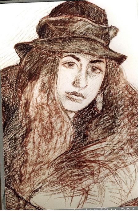 Alessandra, seppia e sanguigna su carta, 1986