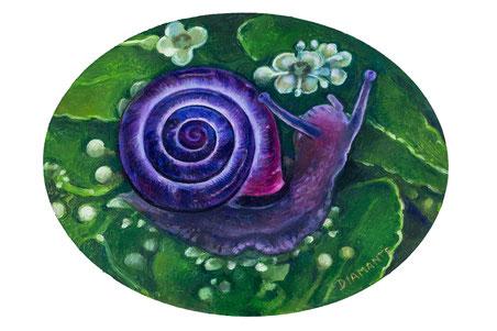Violet snail, opera di Patrizia Diamante, olio su legno telato. 2014