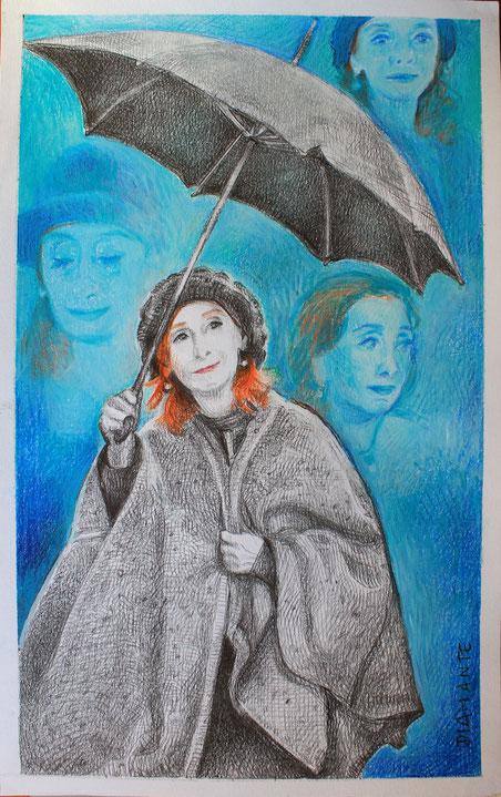 Michela, disegno su carta, tecnica mista. 2016