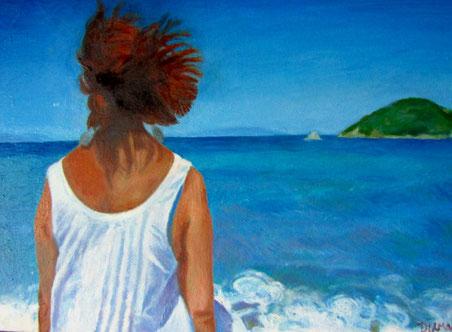 Ritratto di spalle, opera di Patrizia Diamante, olio su tela. 2011