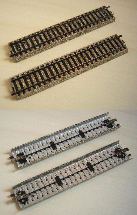 Hinten jeweils das Gleis bis 1980, vorne das Gleis mit den beschriebenen Änderungen ab 1980.