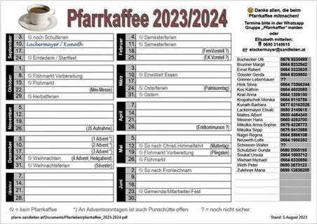 Diensteinteilung für das Pfarrkaffee 2019/2020 (Stand 18.Oktober 2019)