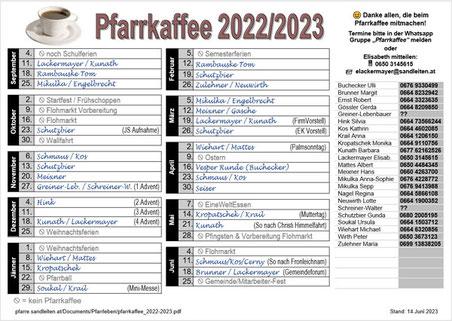Liste zum Eintragen für das Pfarrkaffee 2021/2022 (mit eingetragenen Namen bis 3.Oktober 2021).