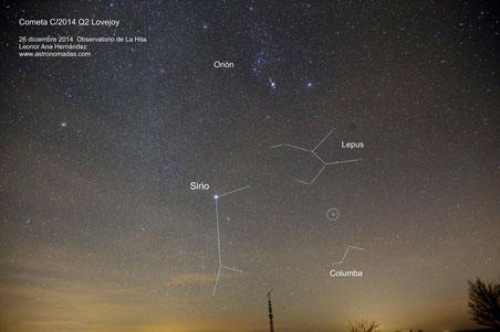 Imagen de gran campo de la zona sur con el cometa marcado en círculo.