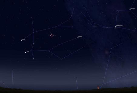Fuente: Stellarium con la posición del cometa el 20 de agosto 20115