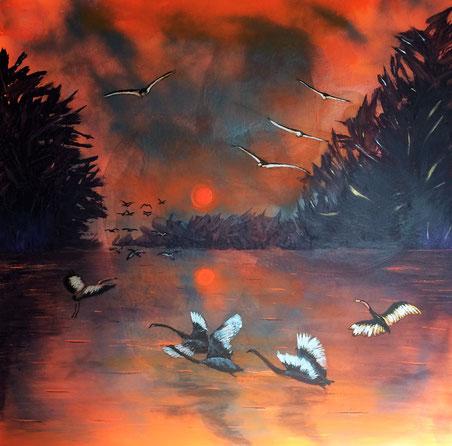"""Birds Kingdom"" 91cm x 91cm Multi Media on canvas $200 (excluding freight)"