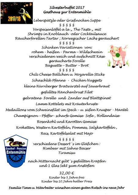 Silvesterbuffet 2017/2018 Gasthof Pension Entenmühle