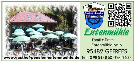 Gasthof Pension Entenmühle im Ölschnitztal Naturpark Fichtelgebirge