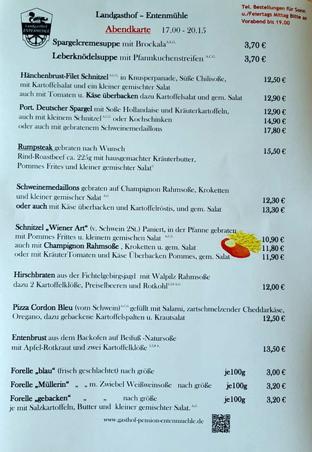 Nur Mittag      Speisekarte ab KW 23   ab Fr. 11.06.2021 bis auf weiteres
