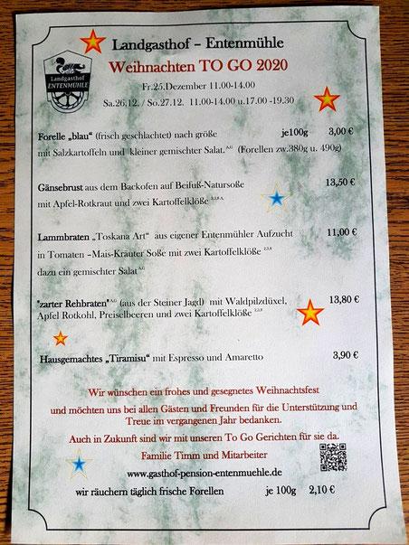 Speisekarte Weihnachten to go  Fr. 25.12.2020   Sa. 26.12.2020   So. 27.12.2020