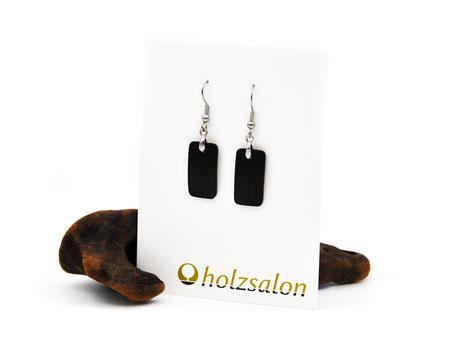 Holzohrhänger Lilli klein schwarzes Ebenholz Holzohrringe