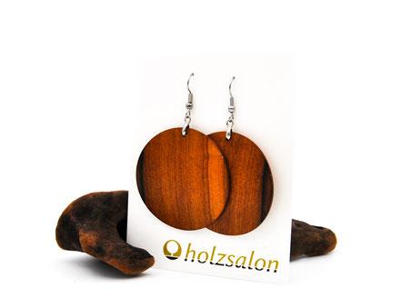 Holzohrhänger Luna groß indisches Apfelholz Holzohrringe