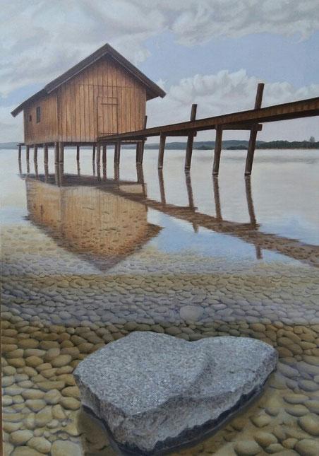 Bootshaus in Stegen; 100 x 70cm; Öl auf Leinwand