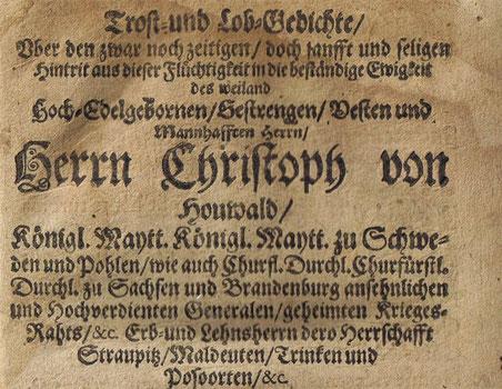 Totenschrift Chr.v.Houwald 1662.