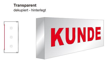 Transparent / Leuchtkasten dekupiert/flach hinterlegt