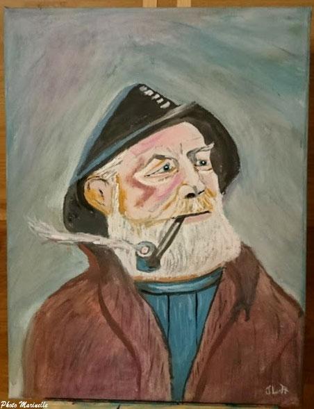 """JLA Artiste Peintre - """"Vieux marin à la pipe"""" 048 - Peinture sur toile"""