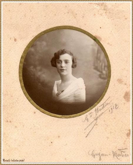Gujan-Mestras autrefois : Portrait de jeune fille en 1927, ma grand-mère maternelle (Marie-Thérèse Lagauzère qui deviendra, 2 ans plus tard, épouse Pédemounou), Bassin d'Arcachon (photo de famille, collection privée)