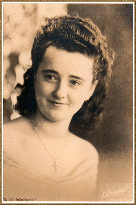 Gujan-Mestras autrefois : Portrait de jeune fille en 1948, ma maman (Ginette Pédemounou qui deviendra, 2 ans plus tard, épouse de Almeida), Bassin d'Arcachon (photo de famille, collection privée)