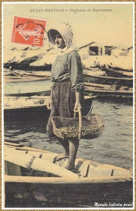 Gujan-Mestras autrefois : en 1910, pêcheuse de bigorneaux au Port de Larros, Bassin d'Arcachon (carte postale - version colorisée, collection privée)