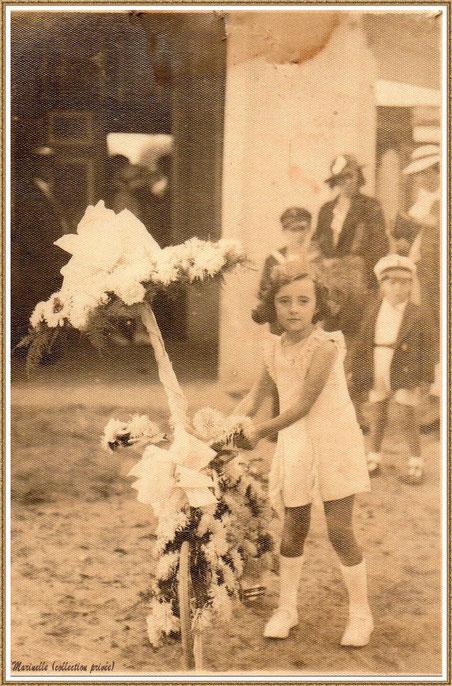 Gujan-Mestras autrefois :  vers 1937, ma maman avec son vélo fleuri à l'occasion d'un défilé du corso fleuri scolaire annuel, Bassin d'Arcachon (photo, collection privée)