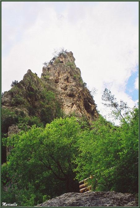 La falaise au-dessus du gouffre et de sa résurgence, Fontaine de Vaucluse, Pays de La Sorgue, Vaucluse (84)