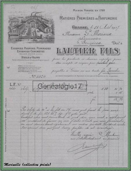 Autrefois... Facture d'une distillerie datant de 1907 (collection privée)