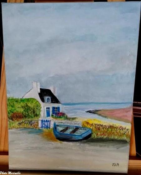"""JLA Artiste Peintre - """"Maison Bretonne et canot en bord de mer"""" 055 - Peinture sur toile"""