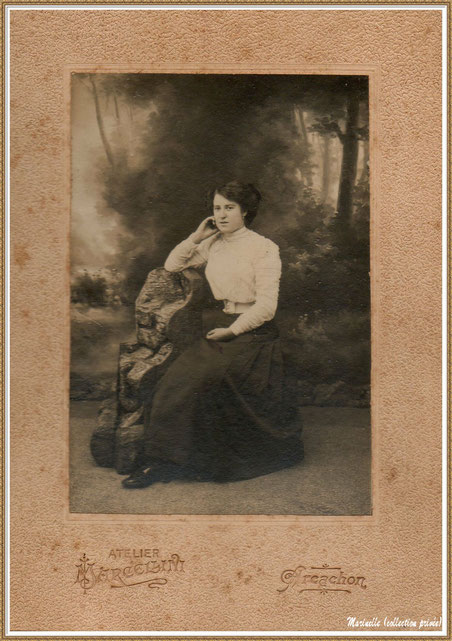 Gujan-Mestras autrefois : Portrait de femme vers 1915, Bassin d'Arcachon (photo de famille, collection privée)