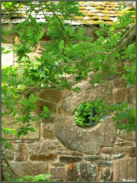 Oeil dans un mur d'une annexe du Manoir - Les Jardins du Kerdalo à Trédarzec, Côtes d'Armor