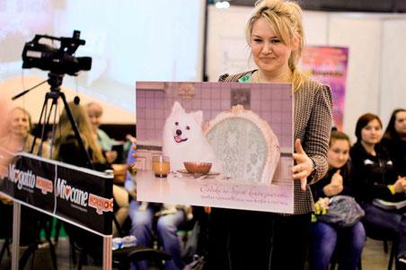 fotovistavka sobak Dogs` LA BEAUTY, Kiev, Ukraine, foto yaponskiy shpitz, prezentatsiya, SIMBA TSAR ZVEREI, Yuliya Strizhkina, fotografii foto belie pushistie sobaki