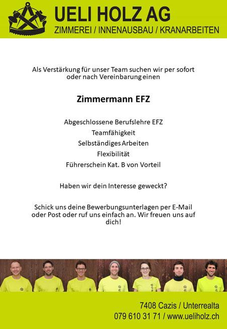 Inserat Zimmermann EFZ Holzbau Cazis