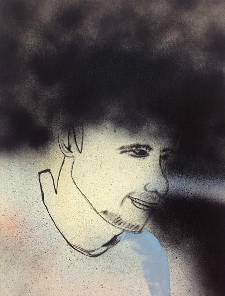 »Karim« 50 x 40 cm, Öl, Lack und Acryl auf Baumwolle