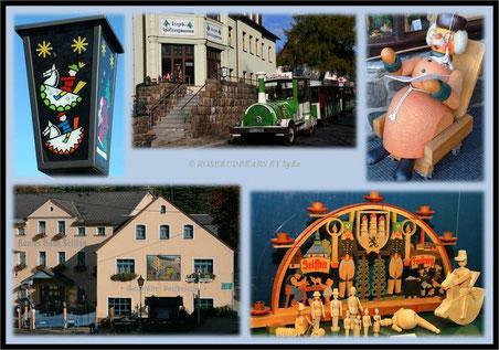 Seiffen: schöne Hotels - überall Holzkunst - die wunderbaren Laternen - und mit der Bimmelbahn durch den Ort - Haltestelle Spielzeugmuseum