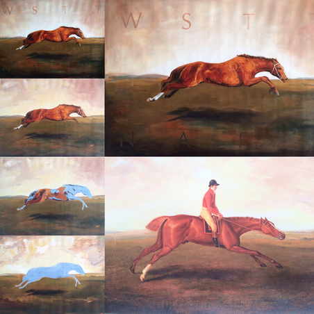 """Who Speaks The Truth Needs A Fast Horse. - Eclipse, fastest race horse of all times. By Fiona Hernuss, 2016, oil on Linen, 103cm x 148cm with painting of the original Eclipse by Sartorius John Nost (1771)"