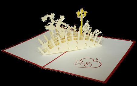 Carte Pop-Up 3D Mariage sur le pont
