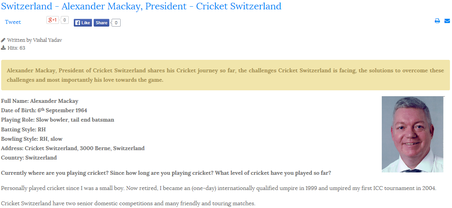 Interview with Alex Mackay, Cricket Switzerland President, by Vishal Yadav, Global Cricket Community