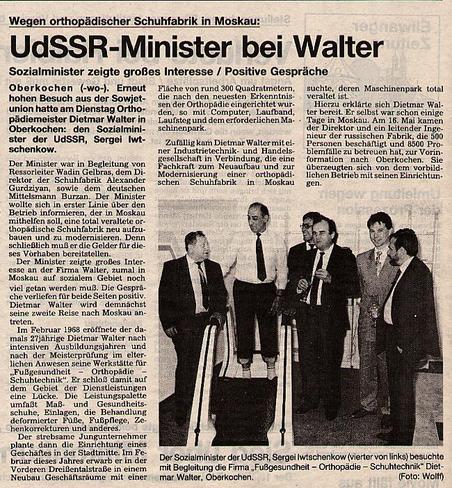 """Orthopedie Walter - Zeitungsausschnitt """"UdSSr-Minister bei Walter"""""""